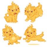 Комплект стиля льва китайского Стоковое Изображение