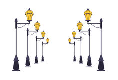 Комплект столба уличного фонаря вектор Стоковые Фотографии RF