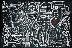Комплект стрелки притяжки руки Доска Doodle схематичная Стоковые Фотографии RF
