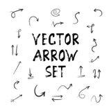 Комплект стрелки Doodle акварели эскиза Grunge Handmade Стоковое фото RF