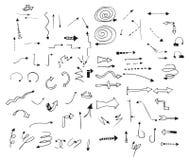 Комплект стрелок вектора нарисованных рукой для дизайна иллюстрация вектора