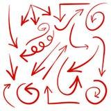 Комплект стрелок нарисованных рукой вектор стрелки красные Стоковое Фото