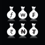 Комплект сумок денег с символом валюты Стоковое Фото