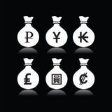 Комплект сумок денег с символом валюты Стоковые Изображения RF