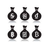 Комплект сумок денег с символом валюты Стоковая Фотография RF