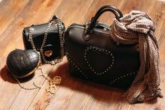 Комплект сумок модной кожаной женщины Стоковая Фотография