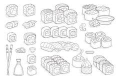 Комплект суш, кренов, wasabi, соевого соуса, имбиря, палочек Стоковое Фото