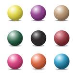 Комплект сфер красочного шарика лоснистых на белизне Вектор Illustratio Стоковые Фотографии RF