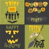 Комплект счастливого дизайна приглашения партии иллюстрации вектора поздравительной открытки хеллоуина с пугающей эмблемой Стоковое фото RF