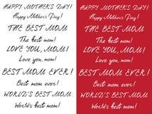Комплект счастливого дня ` s матери handlettering черная белизна Белизна на темноте - красном цвете иллюстрация штока