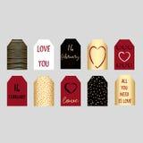 Комплект счастливых бирок подарка дня валентинок Стоковая Фотография RF