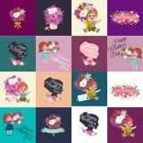 Комплект счастливых карточек дня матерей с текстом и детьми приветствию, ребёнком и девушкой с bouqkuet цветков в плоском стиле Стоковые Фотографии RF