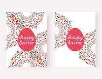 Комплект счастливых карточек пасхи также вектор иллюстрации притяжки corel Стоковые Изображения