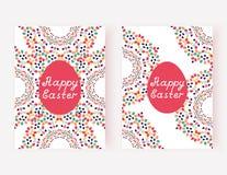 Комплект счастливых карточек пасхи также вектор иллюстрации притяжки corel Стоковые Фотографии RF