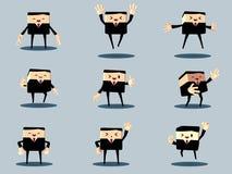 Комплект счастливых офиса и бизнесмена Стоковое Изображение