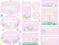 Бирки с пасхальными яйцами, кроликами иллюстрация вектора