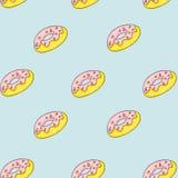 Комплект сладостных картин Безшовные предпосылки с donuts Стоковое Изображение RF