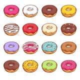 Комплект сладостных красочных donuts Стоковые Фотографии RF