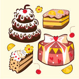 Комплект сладостных тортов Стоковое фото RF