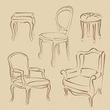 Комплект сделанных эскиз к кресел и стульев Стоковое Фото