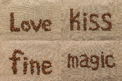 Комплект слов «love», «kiss», «fine», «magic» кофе b Стоковые Изображения RF