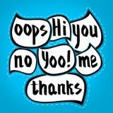 Комплект слов, покрашенный вручную Облако диалога Нарисованный рукой пузырь речи установил с короткими фразами на голубой предпос Стоковое фото RF