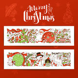 Комплект 2 с Рождеством Христовым горизонтальных знамен Стоковая Фотография