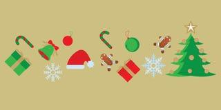 Комплект с Рождеством Христовым значка иллюстрация вектора