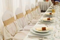 Комплект таблицы свадьбы Стоковая Фотография RF