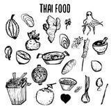 Комплект тайской doodles еды нарисованных рукой грубых иллюстрация вектора