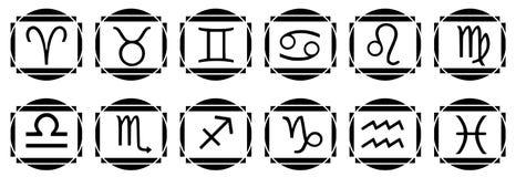 Комплект татуировки знаков зодиака в черноте Стоковые Изображения