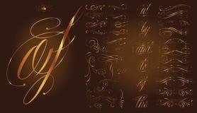 Комплект татуировки золота каллиграфический Стоковое Фото