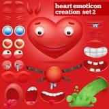 Комплект творения характера смайлика сердца шаржа иллюстрация вектора