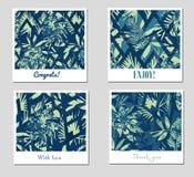Комплект 9 творческих абстрактных картин или предпосылок с красочными тропическими листьями иллюстрация вектора