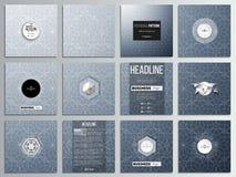 Комплект 12 творческих карточек, квадратный дизайн шаблона брошюры Абстрактная флористическая предпосылка дела, современный стиль Стоковое Фото