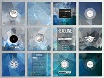 Комплект 12 творческих карточек, квадратный дизайн шаблона брошюры Абстрактная голубая полигональная предпосылка, красочный фон,  Стоковое Изображение