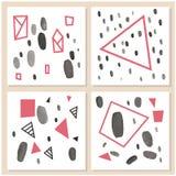 Комплект творческой всеобщей карточек нарисованных рукой Стоковое Фото