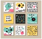 Комплект творческой всеобщей карточек нарисованных рукой Стоковая Фотография