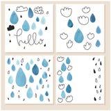 Комплект творческой всеобщей карточек нарисованных рукой Стоковые Фото