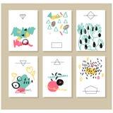 Комплект творческой всеобщей карточек нарисованных рукой Стоковая Фотография RF