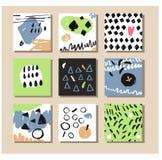 Комплект творческой всеобщей карточек нарисованных рукой Стоковое фото RF