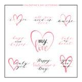 Комплект текста влюбленности с розовым сердцем - все вам влюбленность, я тебя люблю, amore Стоковое фото RF