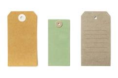 Комплект текстурированных grungy рециркулированных бумажных бирок различных форм Стоковые Фото