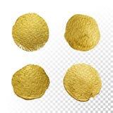 Комплект текстуры пятна мазка круга краски золота вектора иллюстрация вектора