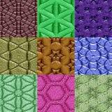 Комплект текстур майяских орнаментов безшовных произведенных Стоковое Изображение RF