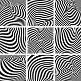 Комплект текстур op искусства в дизайне картины зебры. Стоковые Фото