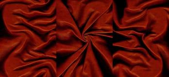 Комплект темноты - красный цвет скомкал кожаные текстуры Стоковое Изображение RF