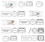 Комплект темных итальянских postmarks Стоковое Изображение RF