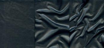 Комплект темных кожаных текстур Стоковые Фотографии RF