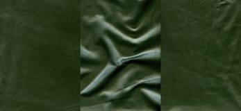 Комплект темных светло-зеленых кожаных текстур Стоковое Изображение